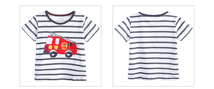 HTB1erLbQFXXXXb0aXXXq6xXFXXXk - 100% Little Maven 2017 new summer baby boys clothes short sleeve O-neck t shirt pure Cotton Fire truck printing brand tee tops