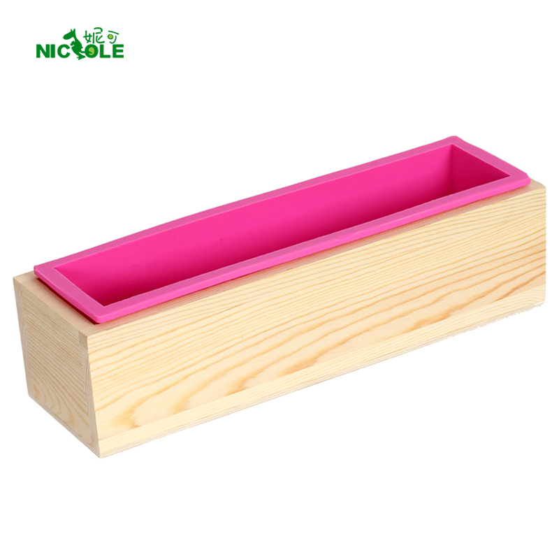 Nicole Silicone såpeform Rectangular Wooden Box med Fleksibel Liner for DIY Håndlaget Loaf Mold