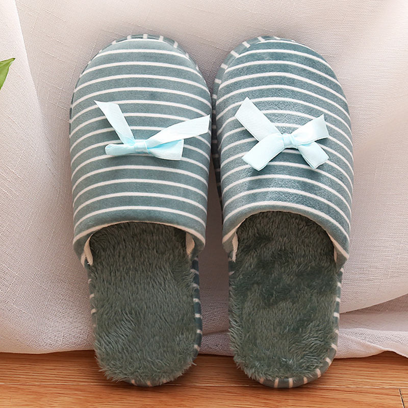 Winter Cotton Home Slippers Women Indoor Warm Simple Striped Soft Slippers Fur Lovers Couples Floor Fashion Woman Shoes