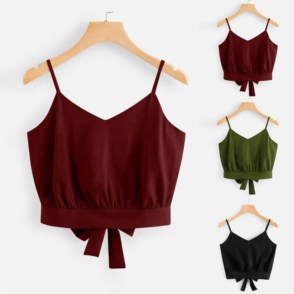 #40 summer party Top Women Casual cute Bow Tie Back V Neck Crop Cami Top vintage modis Camisole Blouse camiseta mujer verano
