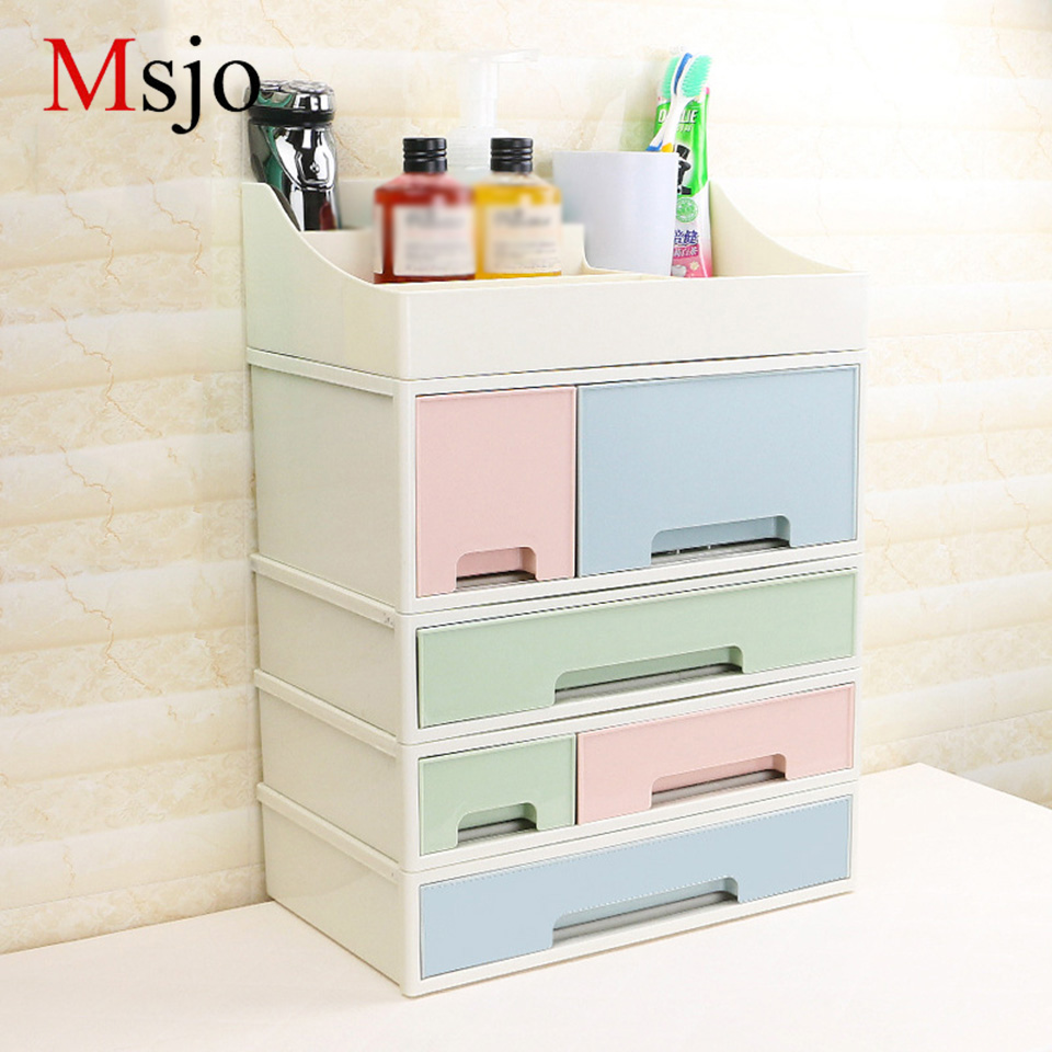 Msjo Combinable Cosmetic Organizer Storage Box Plastic Drawers Makeup Box For Bathroom C ...