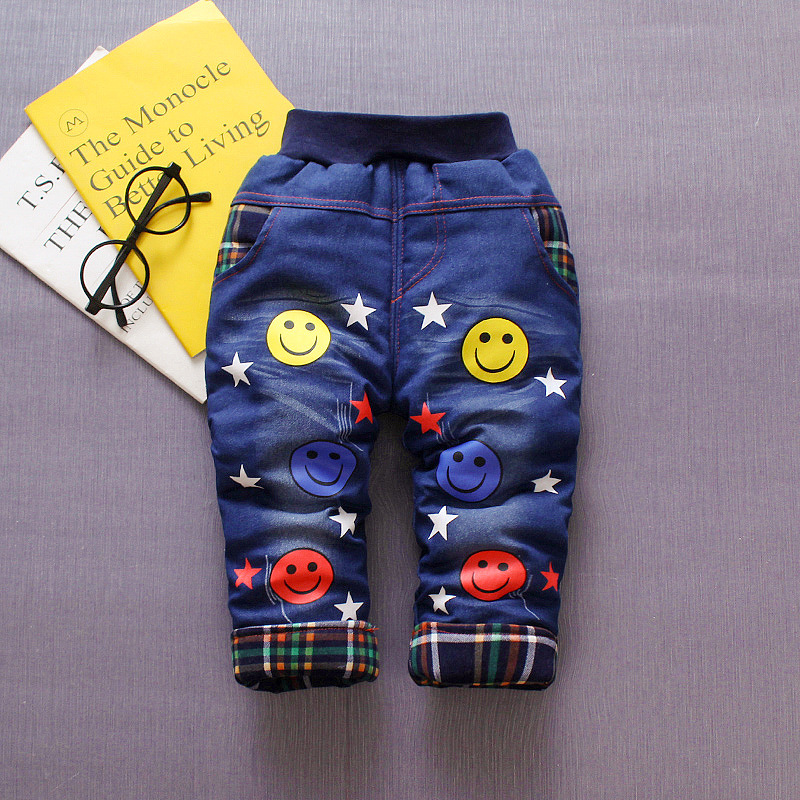 BibiCola infant boys denim cotton pants winter new thicken plus velvet elastic pants kids boys cartoon pattern long pants(China)