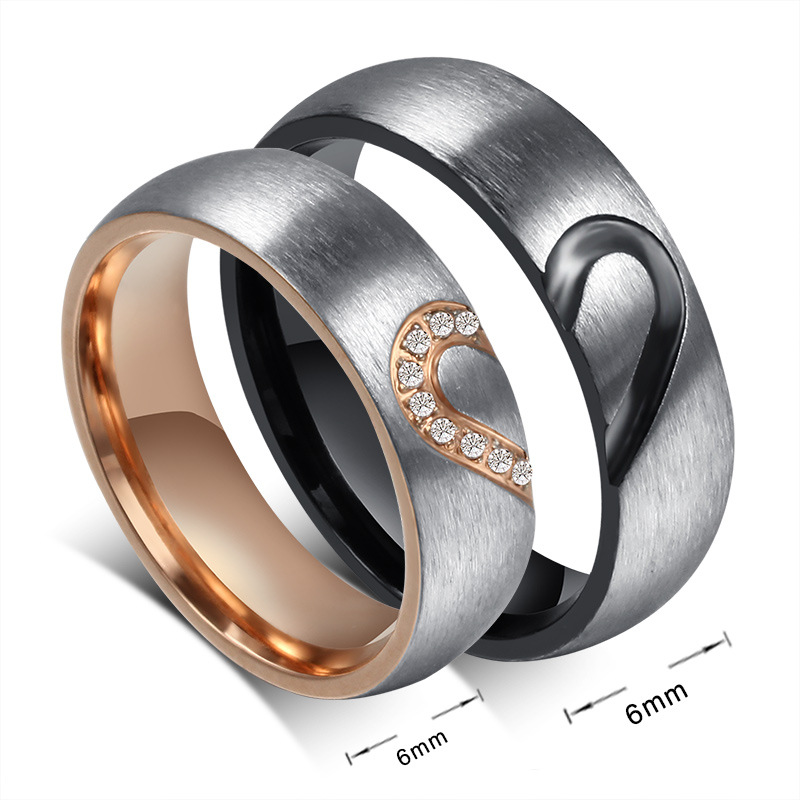 new lovers matching heart stainless steel wedding rings for men