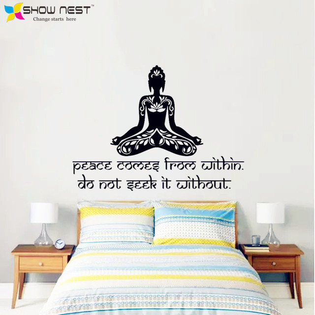 Yoga Meditation Vinyl Wall Decal Peace Comes From Within Buddha Quote Lotus