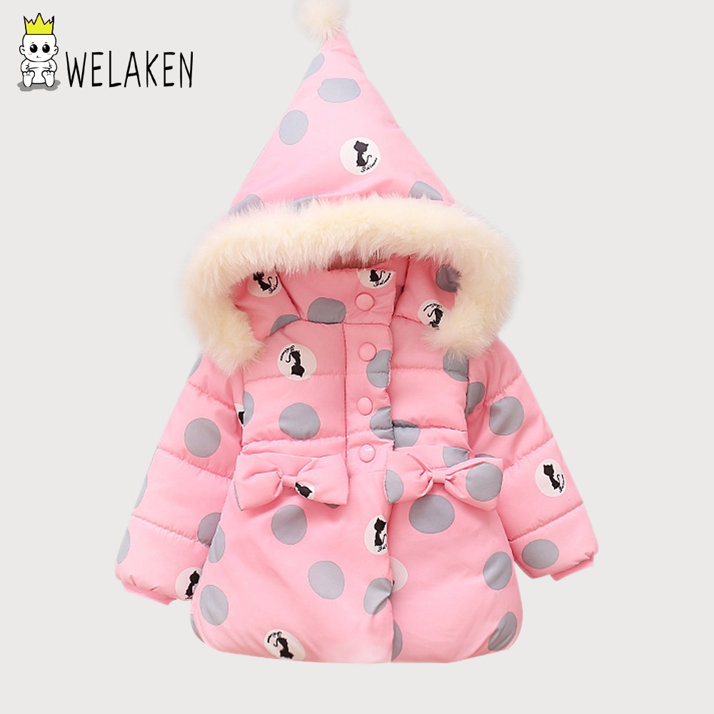 welaken 2018 New Hot Girl's Parkas Cartoon Cute Cat Baby Kid's Bowknot Snow Wear Winter Children Christmas Soft Hooded Clothing