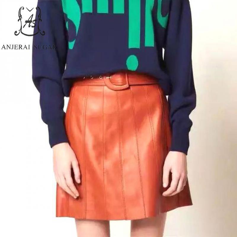 Printemps jupes en cuir véritable femmes orange sexy taille haute D boucle ceinture couture plissée vraie peau de mouton femme une ligne jupe