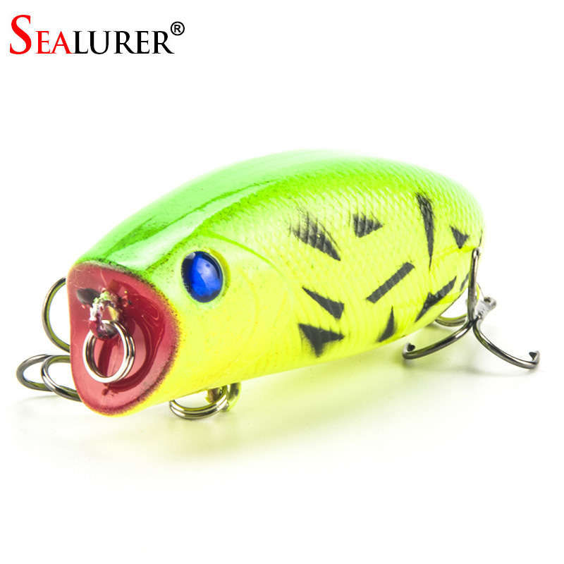 купить 1PCS 3D Eyes Lifelike Fishing Lure 5.5cm 11g 8# Hooks Pesca Fish Popper Lures Wobbler Isca Artificial Hard Bait Swimbait онлайн