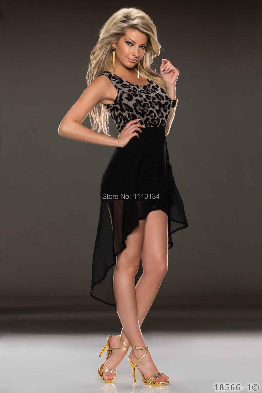d5f1d8c6751b670 ... Черный Для женщин летнее платье 2016 Новая Мода леопардовым принтом  Платья для женщин Асимметричный шифон лоскутное ...
