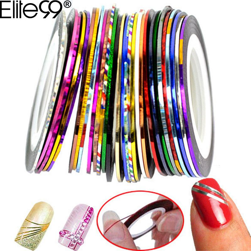 Elite99 Striping Tape Line Nail Art Tips Decoration Sticker Nail 10pcs Mixed Colors Nail Rolls Striping Tape Line DIY For Nail 10pc set mixed colors nail rolls striping tape line diy nail art tips decoration sticker nails care for nail polish makeup tools