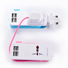 Fast Charging 4 Ports Wall Socket Universal USB Power Strip Portable Charger Travel Adapter Extension Cord Cable EU US UK Plug fast charging usb charger power travel adapter strip switch led display screen with 8 usb socket ports for us uk eu plug sockets
