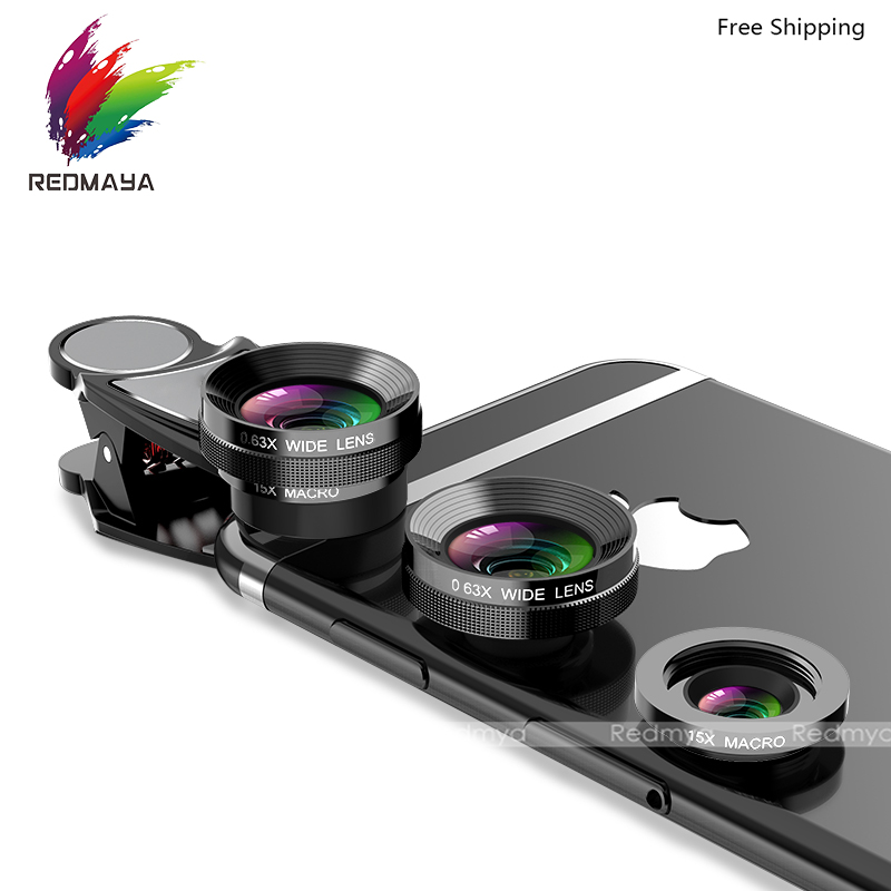 4 in 1 Phone Lens Fisheye Camera Mobile Phone Lenses 15X Macro Lens 0.63X Wide Angle Universal Clip For iPhone 7 For Samsung S8