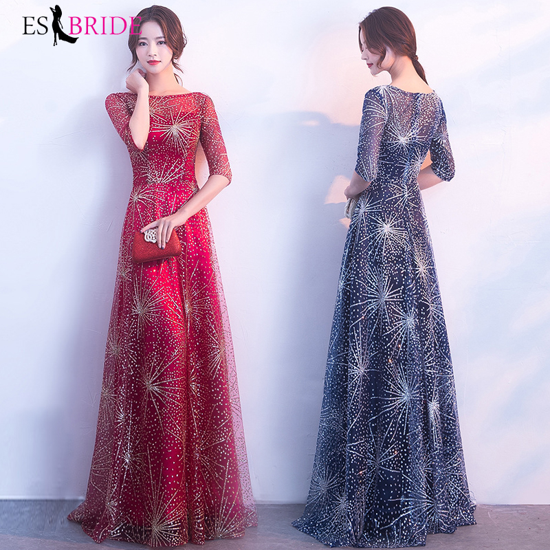 Chiffon Evening Dresses Long Formal Round Collar Elegant Long Dress A line Lace Short Sleeve Party