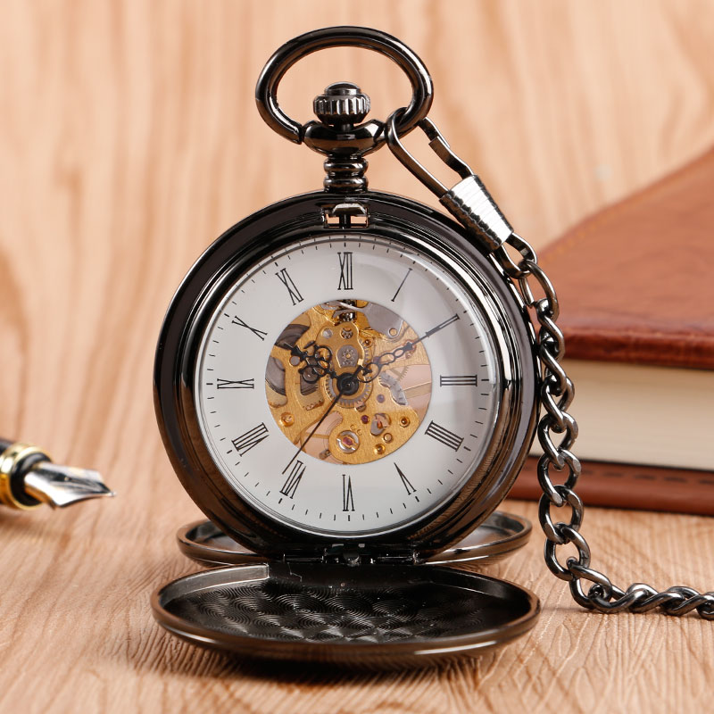 Simple Roman Number Chain Smooth Vintage Stylish Hand Winding Fashion Classic Fob Wind Up Black Mechanical Pocket Watch silver mechanical pocket watch man smooth case open two vintage father stylish wind roman number hour good quality short chain
