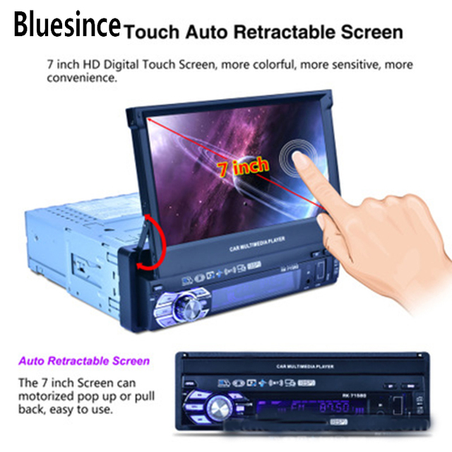 Bluesince New 7-inch Automatic Car Telescopic MP5 MP4 MP3 Colorful Lights GPS Navigation Machine RK-7158G Report