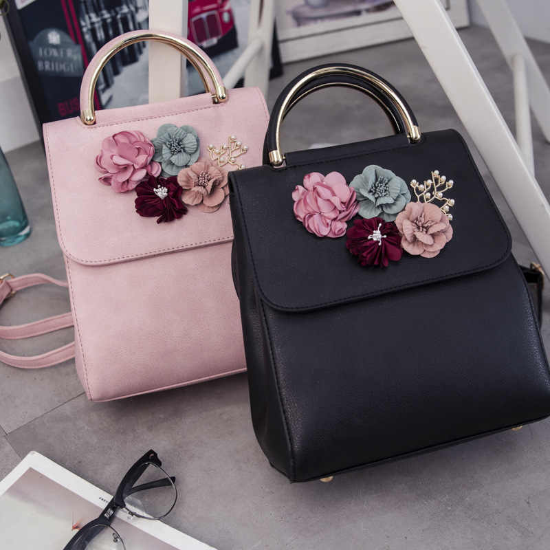 New Women Flower Small Backpack High Quality Pu Leather Backpacks Beading School Bags For Girls Multifunction Bagpack 733