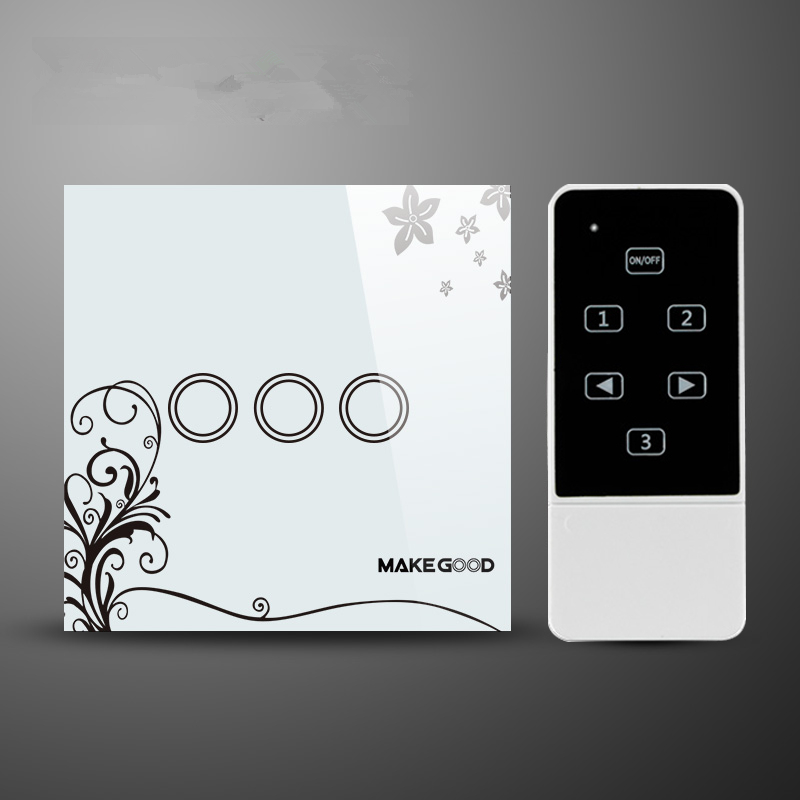 UK Standard 3 gang 1 way remote control light switch and home automation wall switch white have flower glass panel smart home uk standard crystal glass panel wireless remote control 1 gang 1 way wall touch switch screen light switch ac 220v