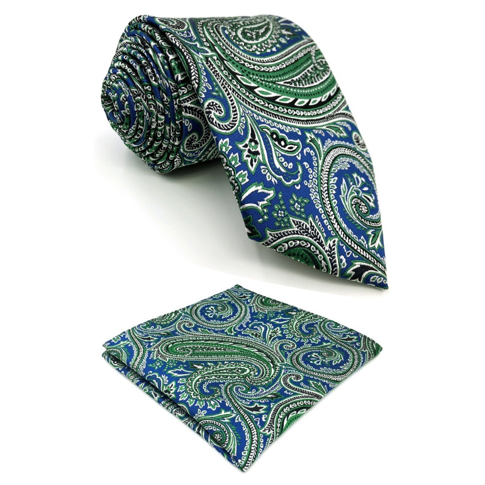D29 Blue Green Paisley Silk Mens Necktie Jacquard Woven Fashion Extra long size 63 Classic Hanky Groom Brand New