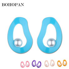 Fashion Irregular Hollow Out Pearl Earrings For Women 5 Candy Color 2018 Summer Jewelry Girls Statement