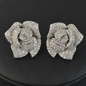 Image 2 - Женские серьги гвоздики с фианитом, циркониевые серьги высокого качества с микрозакрепкой