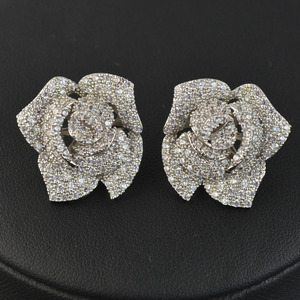 Image 2 - New design micro pave AAA zircon rose flower stud earrings for women/girls,high quality CZ party/wedding jewelry earring