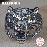 BALMORA 925 Sterling Silver Three Dimensional Tiger Head Animal Open Rings for Men Ring Retro Fashion Jewelry Anillos SY22369