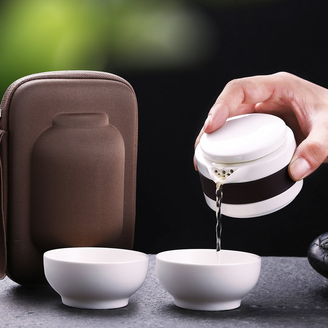 China Travel Ceramic Tea Sets Kung Fu Tea Pot with Bag Travel Teapots Teacups Outdoor Mini
