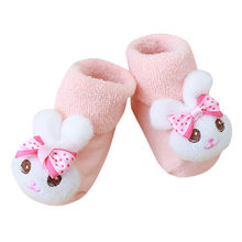 Cartoon Newborn Kids Baby Girls Boys Anti-Slip Warm Socks Slipper Shoes Boots For 0-12 months Baby Soft Warm Socks(China)