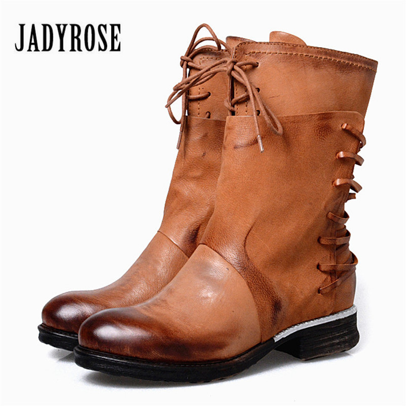 Jady Rose Brown Genuine Leather Women Winter Boots Vinatge Lace Up Riding Boot Flat Shoes Woman Mid-Calf Platform Rubber Botas prova perfetto yellow women mid calf boots fashion rivets studded riding boots lace up flat shoes woman platform botas militares