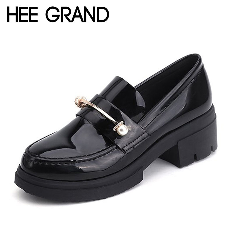 HEE GRAND 2018 New Arrival Spring Shoes Women Oxfords Heels String Bead Decoration Fashion British Style Shoes XWD6358 hee grand pointed toe pumps british style med heels patchwork t strap oxfords shoes woman casual vintage pump shoes xwd2469