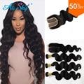 Grace Hair Brazilian Body Wave Closure With 4 Bundles Body Wave Hair Middle Part Free Part Closure Brazilian Virgin Hair Weave
