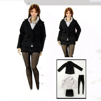 1/6 Black Female Clothes Suit White Shirt and Stockings for 12''Bodies фото