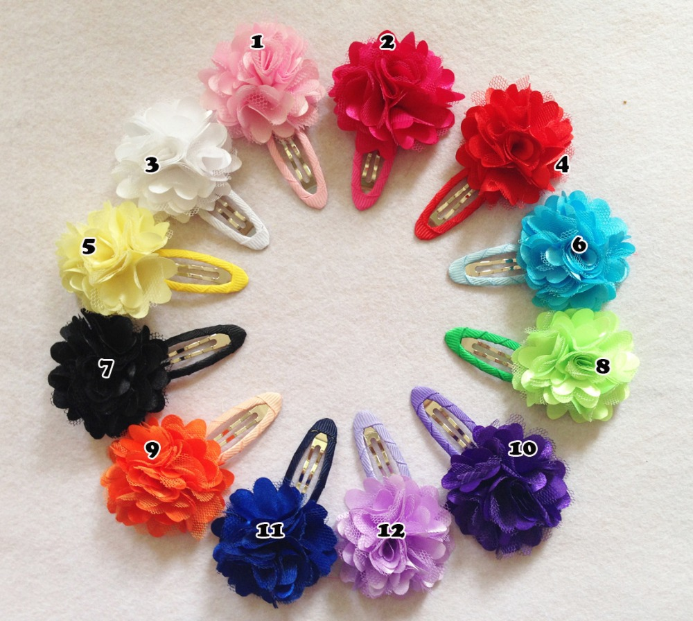 20 pcs/lot, Mesh Satin flower hair clip