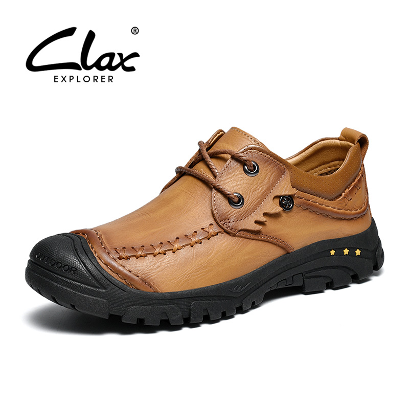 CLAX Mans Boots 2019 Spring Autumn Casual Male Shoes Leather Mens Walking Footwear Genuine Leather Ankle