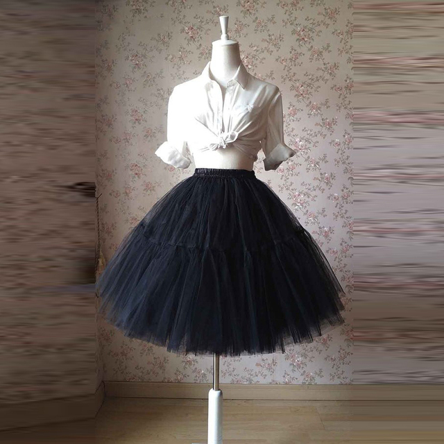 b72c971bf ... Tulle Custom Made Pleated Skirts. Super Puffy Black Tutu Skirt Elastic  Waistline A Line Knee Length