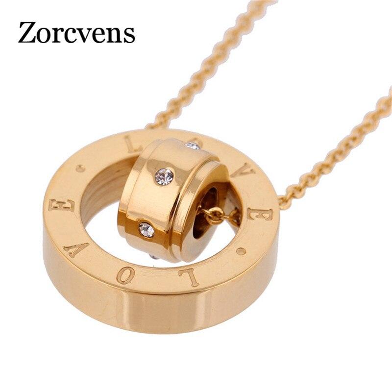ZORCVENS-bijou de Costume pour femmes, deux couleurs, en acier inoxydable 316L, pendentif en forme d'amour, nouveau timbre