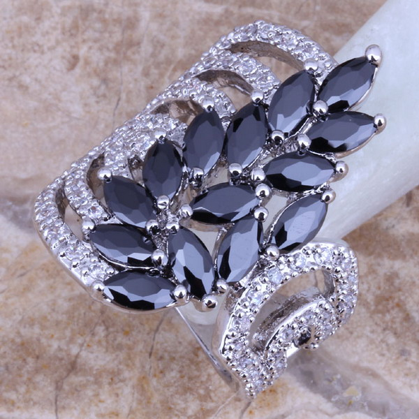 Unique Black  Cubic Zirconia White CZ 925 Sterling Silver Ring For Women Size 5 / 6 / 7 / 8 / 9 / 10  S0189