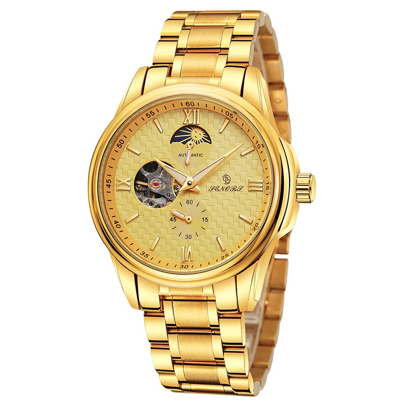 Automatic Mechanical Watches Men Skeleton Gold Luxury Business Watch Men Stainless Steel Transparent Case Back Waterproof 3 Bars