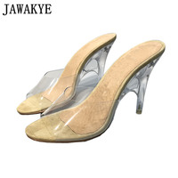 Sexy PVC Jelly Sandals Crystal Peep Toe Strange Transparent High Heels Women Slippers Discount Slides Summer