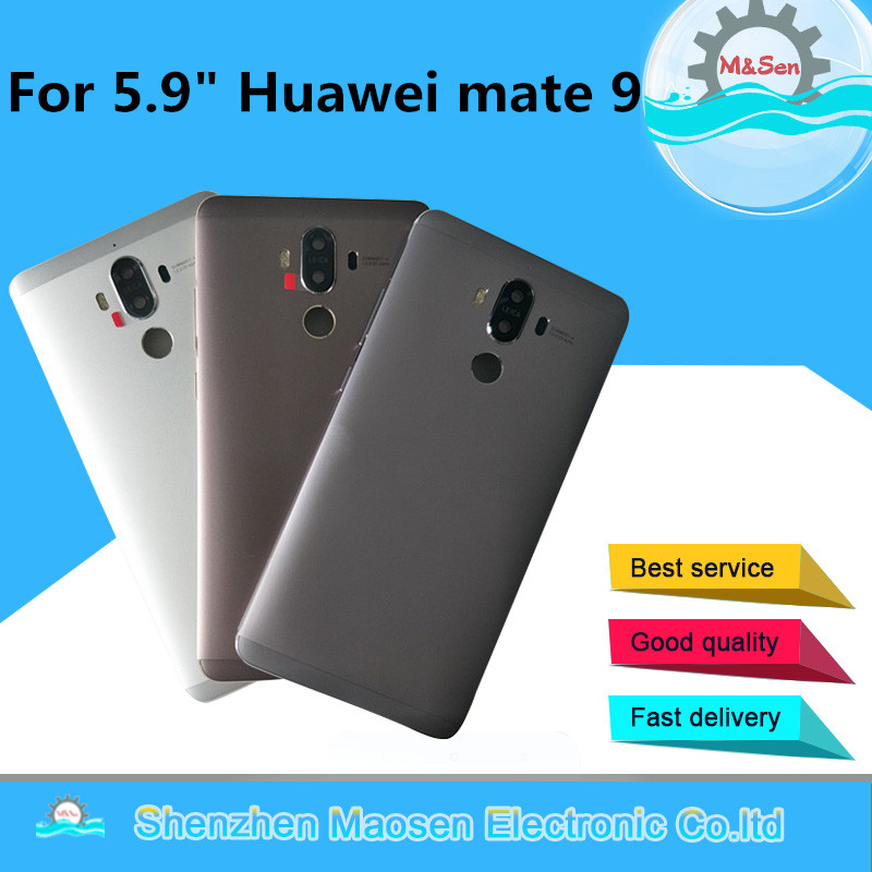 Original M&Sen For 5.9 Huawei Mate 9 Back Battery Cover Case Housing+Power Side Buttons For Huawei Mate 9 Rear Door Replacement