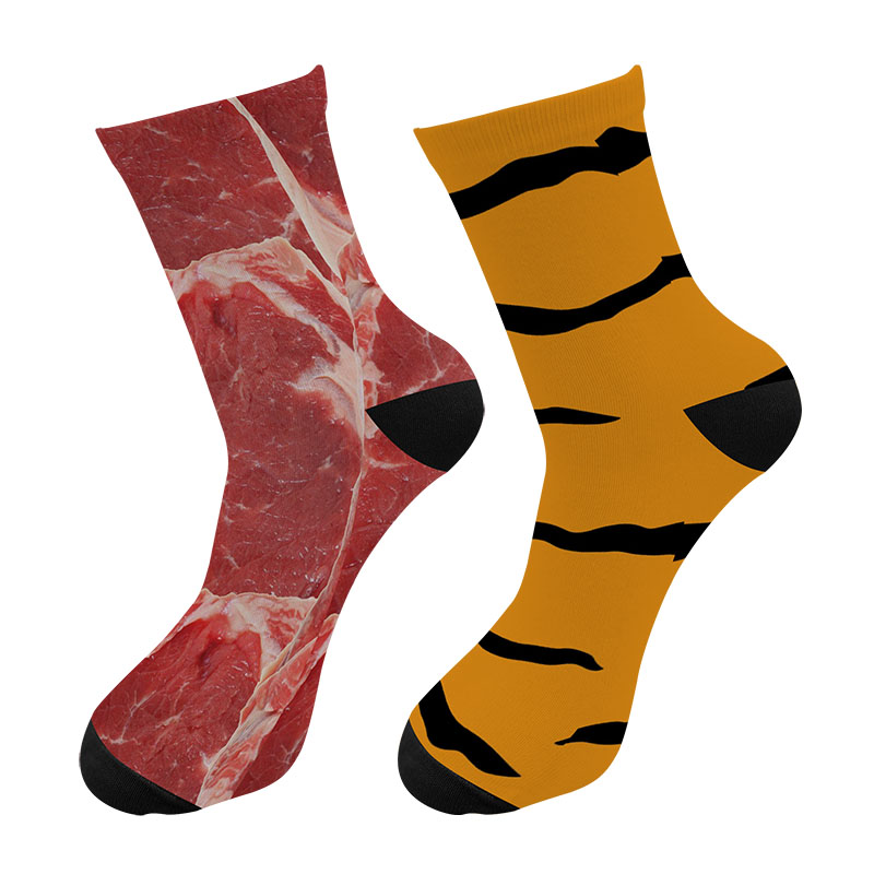 Men Fashions 3d Printed Tiger Skin Meat Crew Socks Men Funny Raw Beef Dollars Long Socks Street Trend American Flag Tube Socks
