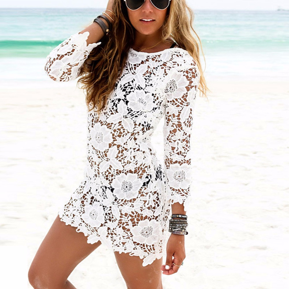 3b7527687 Ropa de playa Bikini cubrir para mujer Sexy traje de baño hueco blanco  encaje Bikini Bordados ...