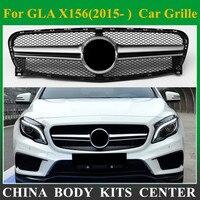 Передняя решетка сетки авто решетка для Mercedes gla класса X156 gla63 AMG Дизайн серебристый ABS замена автомобилей переднего бампера 2014 2016