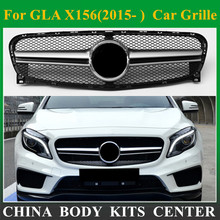 Front Grill Mesh Auto Grille For Mercedes GLA Class X156 GLA63 Amg Design Silver ABS Replacement Car Front Bumper 2014-2016