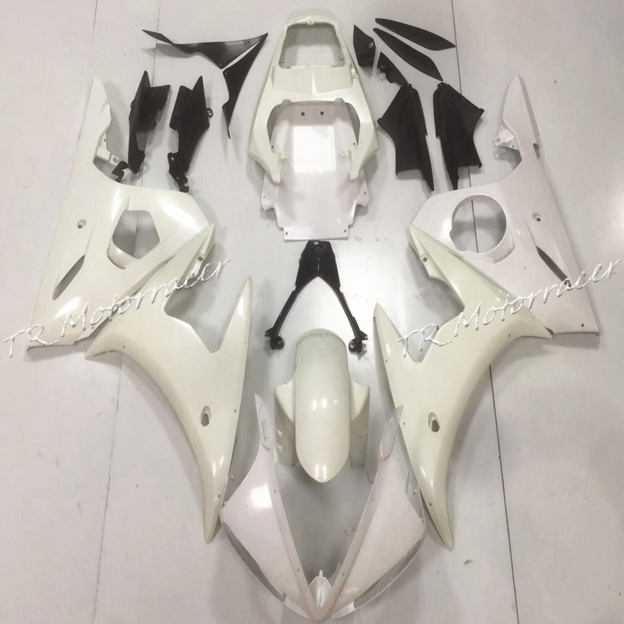 White Motorcycle Unpainted Injection Fairing Bodywork Molding Kit For Yamaha YZF R6 2003 2004 2005 motorcycle front light headlight head lamp for yamaha yzf r6 yzfr6 yzf r6 2003 2004 2005 03 04 05