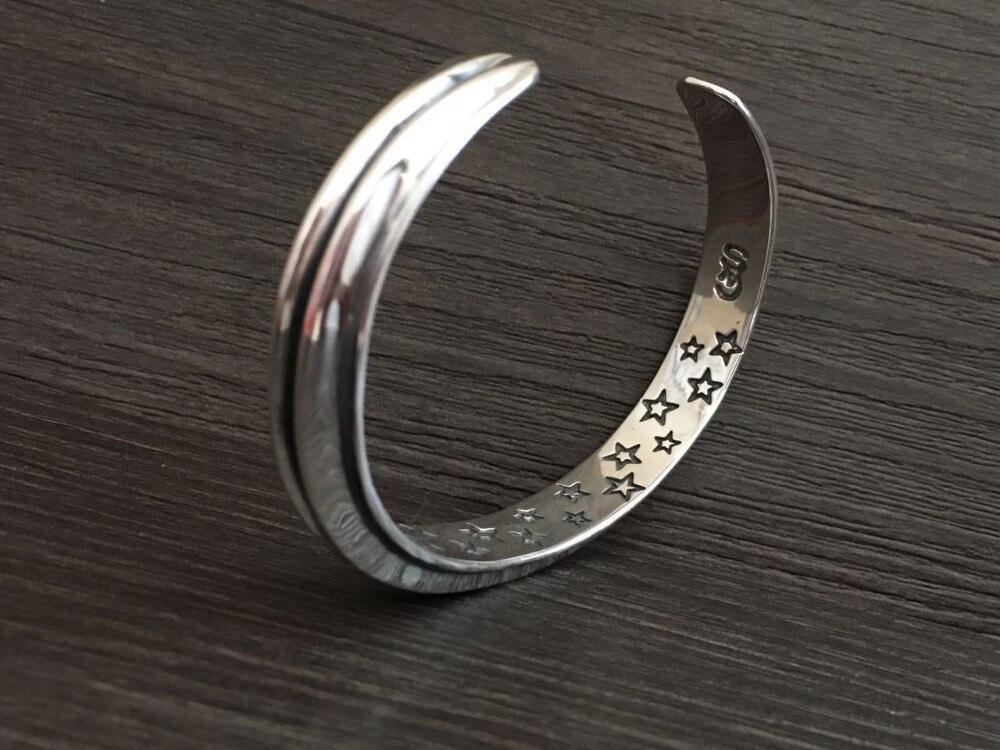 Moda superior plata 925 Simple brazalete brazaletes y pulsera hombres 100% sólida plata esterlina 925 Real para hombre joyería Vintage estilo indio - 5