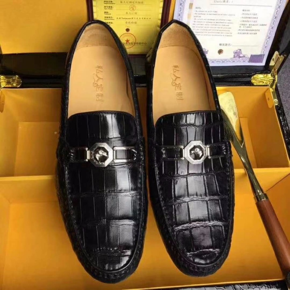 2018 Genuine 100% real genuine crocodile belly skin men shoe, luxury top quality crocodile skin men shoe black brown color