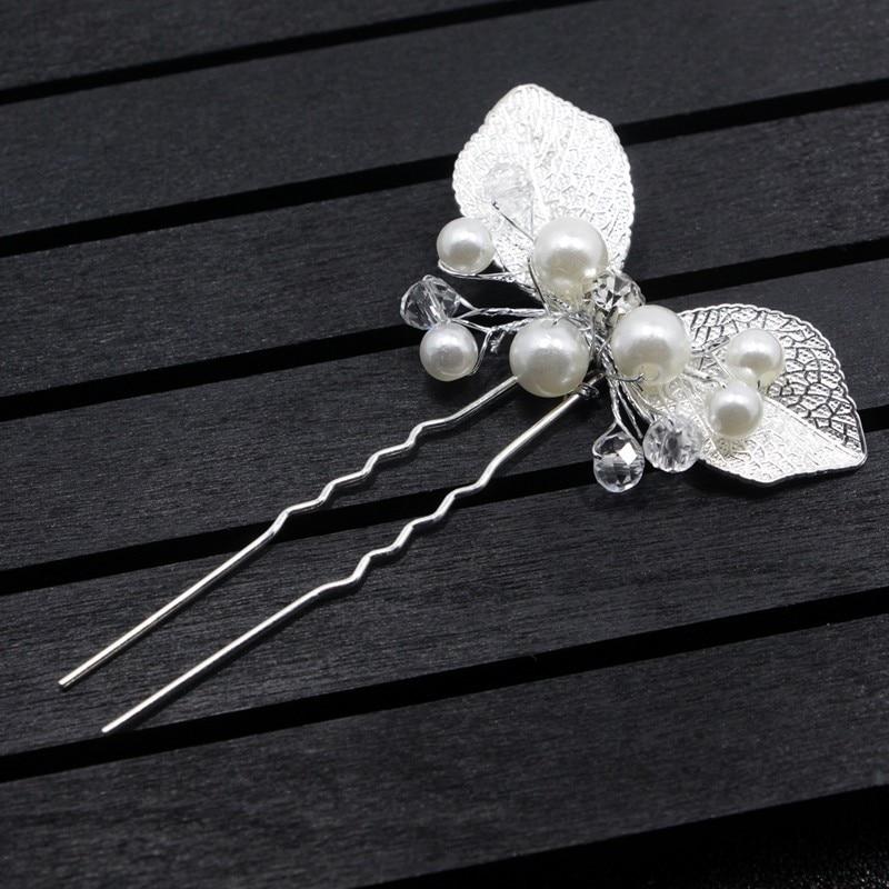 Clip Hair-Accessories Vine Plant-Hair-Sticks Leaf Wedding-Hairpin Pearl Bridal-Hair Gold