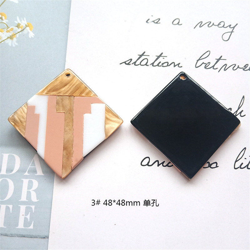 Round Square Fashion Unique 2pcslot Bright Acrylic Imitate Marble Texture Coin-shape Charms for EarringJewelry DIY ET52 (10)