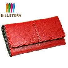 BILLETERA, женский клатч, кошельки, натуральная коровья кожа, кошелек, модный, из кусков, для девушек, красный, Длинный кошелек, элегантный женский кошелек, сумка