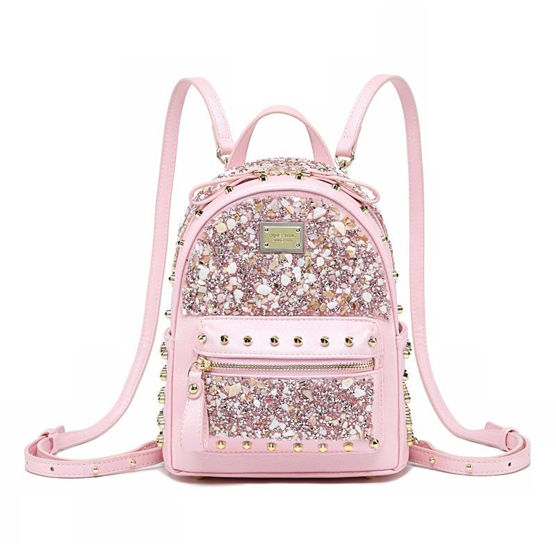 Femmes diamant mini sac à dos de luxe designer sac à dos en cuir fille petit sac à dos sac à bandoulière sac de voyage noir rose mochila
